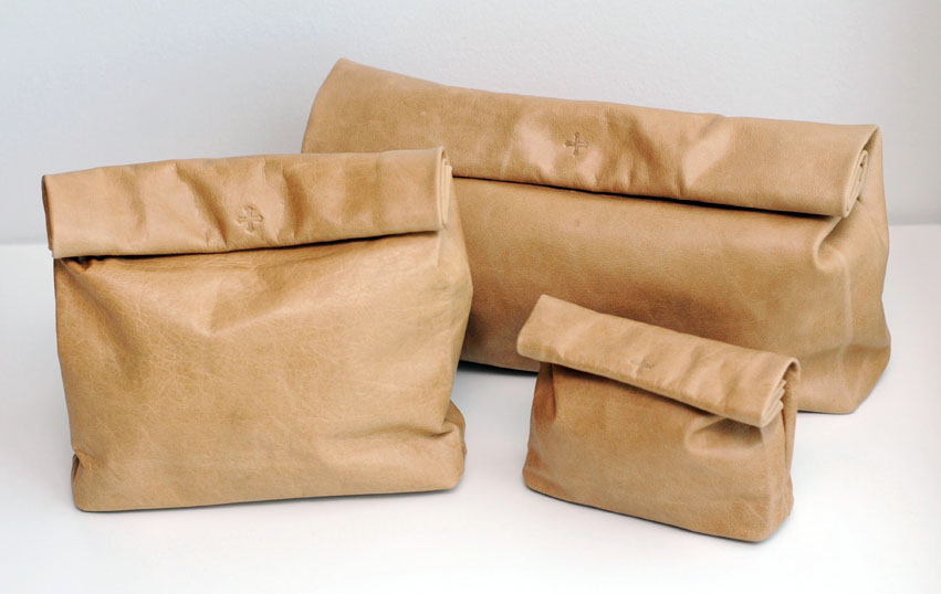 Cicada Collection's Brown Paper Bag clutches by Marie Turnor