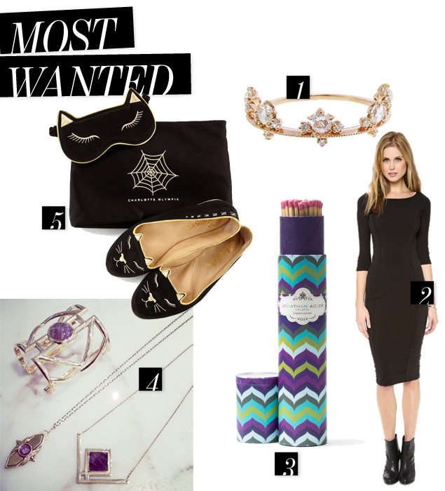 Pamela Love Rise holiday 2013, Charlotte Olympia mask and slippers, jonathan adler matches, james perse dallas