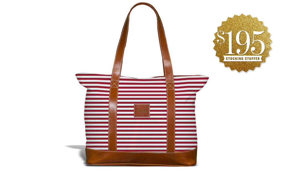 An Oklahoma Sooners-inspired tote. Or, perhaps, it's just nautical. You choose.