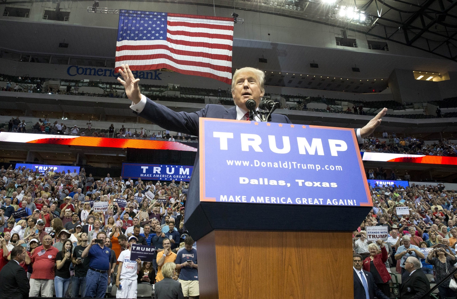 Donald Trump addressed a rally of his supporters in Dallas last year. (Newscom photo)