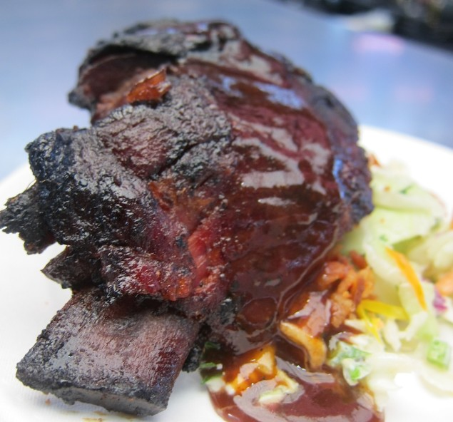 Off The Bone Barbeque Pecan Smoked Ribs with Blue Cheese & Bacon Cole Slaw