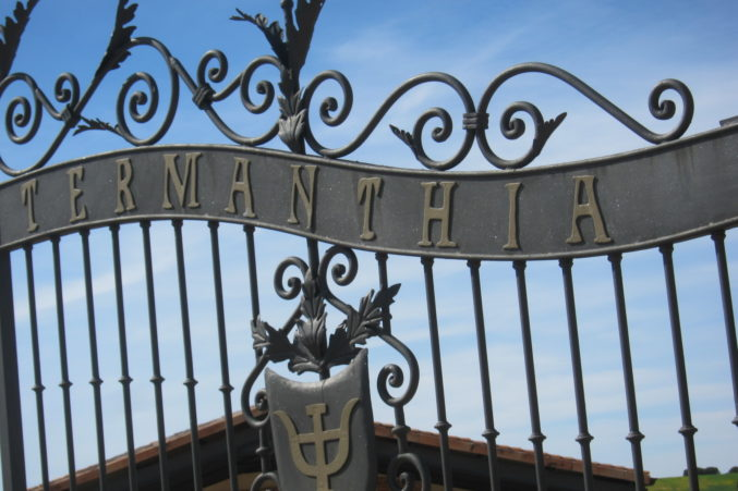 The gate welcoming visitors to Numanthia.