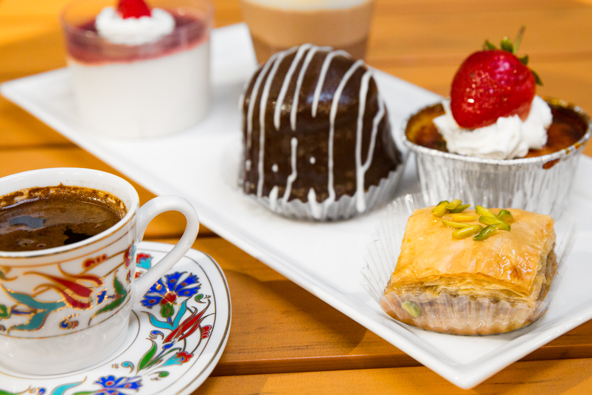The coffee is Turkish, and the desserts are from all over.