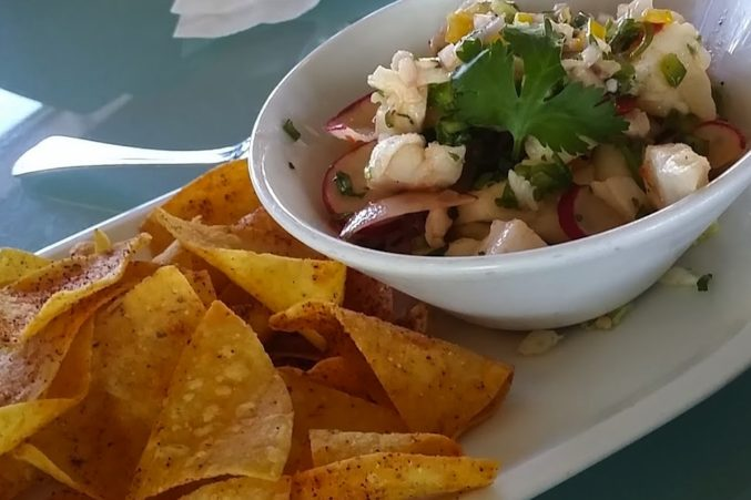 Fresh ceviche with Riesling.
