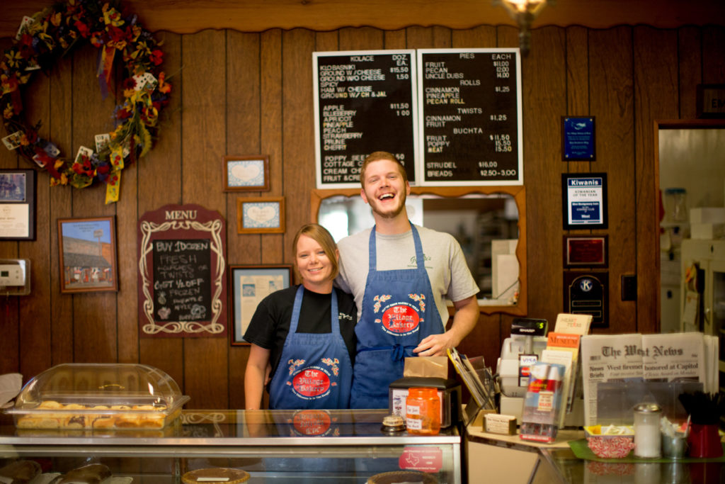 Counter Culture: Jackie Liles and Seth Wolske work at the Village Bakery, which has been in downtown West since the 1950s. Other than being the oldest bakery in town, Village's claim to fame is inventing klobasniki.