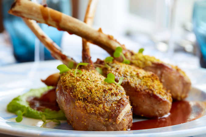 The lamb chops are perfectly grilled, with a pistachio crust that resonates earthily with the lamb. The fresh pea and mint purée does more for the dish than the clashingly sweet Chianti demi-glace and red onion marmalade.