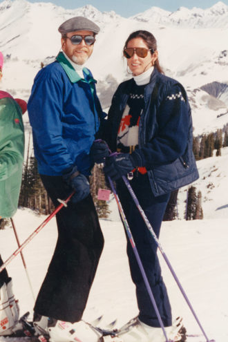 Slippery Slope: The Peytons pose together while skiing in Crested Butte, Colorado, in 2000. Another ski trip in February 2015, when Mary Burdette spent a lot of time with John to the surprise and concern of his friends, would begin the unraveling of the Peytons' marriage.