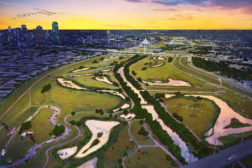 """Just Do It: A rendering shows former city councilwoman Angela Hunt's proposal to """"re-wild"""" the floodway, by returning it to its original blackland prairie habitat while adding modest parking areas, paved trails, and a handful of vehicular access points. The money is there."""