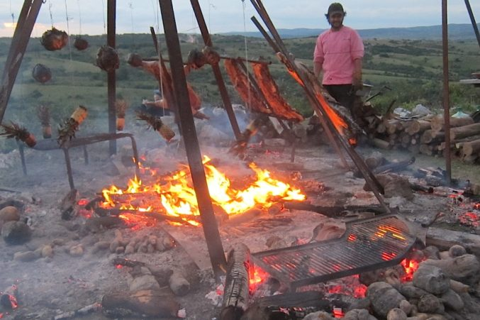 Mallmann's open fire grill on top of his mountain in Uruguay.