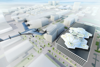 An illustration shows what Uber's flying vehicles will look like.
