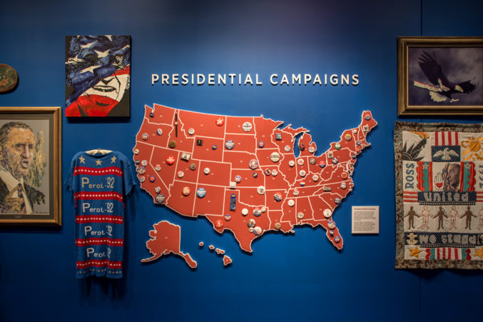 A section of the Perot Co.'s museum includes a section dedicated to the elder Perot's presidential run. (Photo: Jessica Chen)