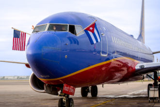 Southwest's inaugural flight to Cuba arrived at the Havana airport in December 2016. Image courtesy of Southwest Airlines.