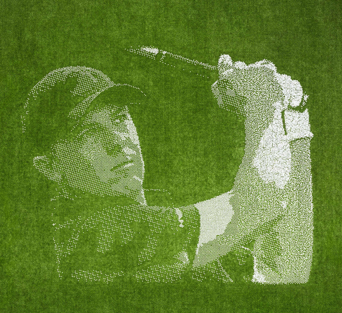 Last fall, AT&T put together a huge outdoor mural depicting Spieth near its headquarters in downtown Dallas. The mural was constructed with more than 24,000 golf balls.