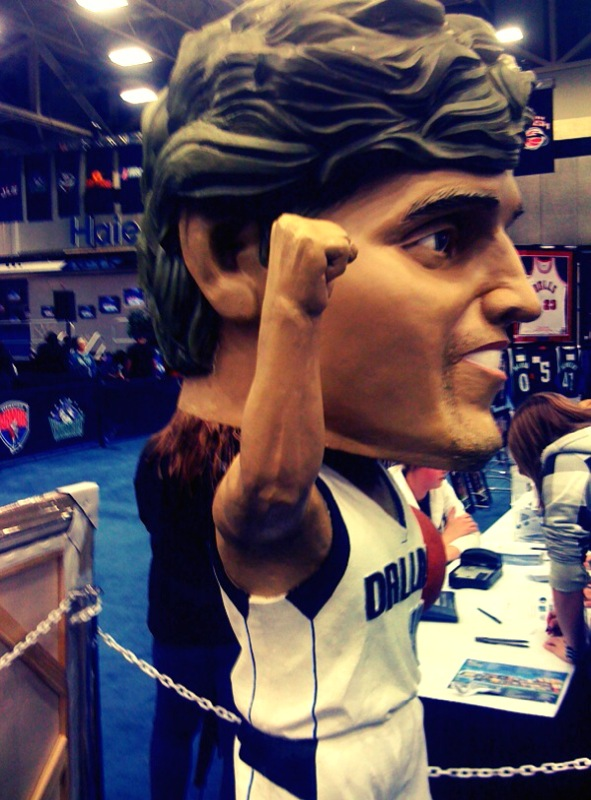 This gigantic Dirk Nowitzki bobblehead is as close as we got to seeing an actual NBA player. It's sort of terrifying, no?