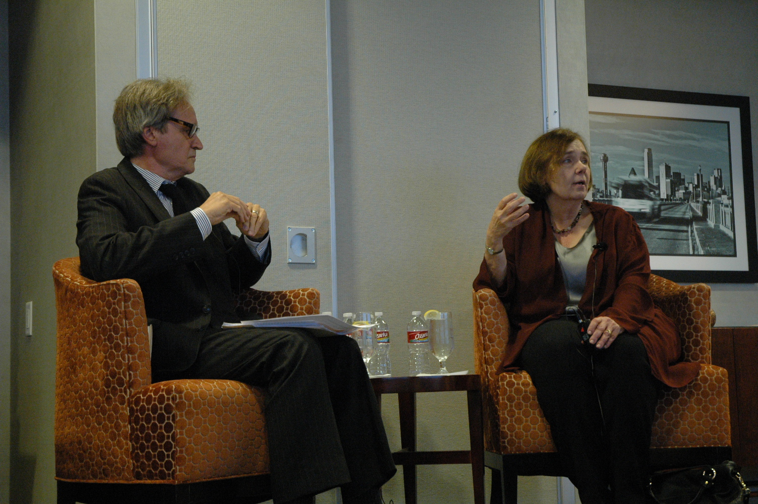 Gail Collins, right, endures the questions of Glenn Hunter with admirable patience and humor.