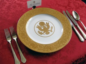 Each meal is served on the finest of presidential china, pilfered from the White House. Photo: Luigi Crespo