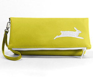 Cykochik's PETA clutch in chartreuse and white.