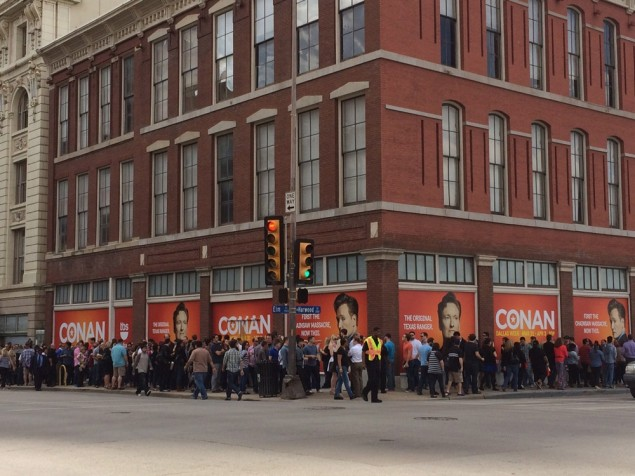 The line waiting to enter the Majestic to take their seats for the Conan taping.