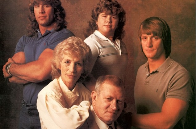 The Von Erichs in 1988. Sons Kerry (top left) and Chris (top center) later committed suicide. Fritz (bottom right) died of cancer in 1997.