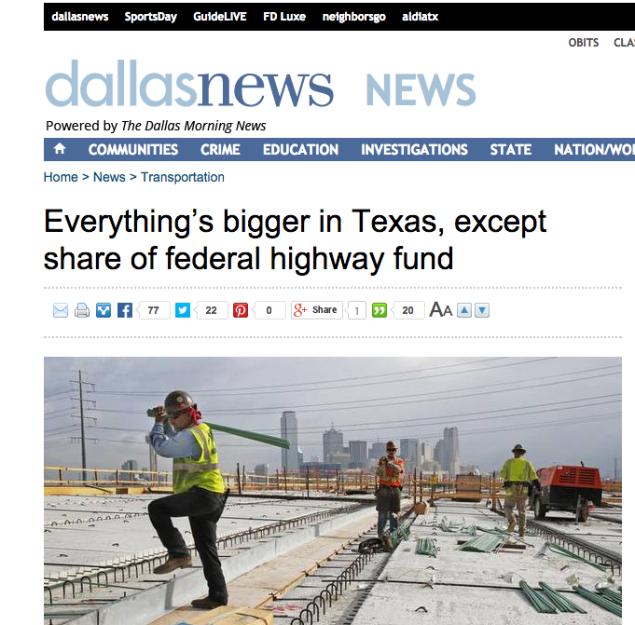 Morning News Everything's Bigger in Texas headline