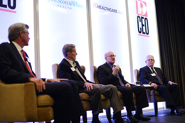 Methodist Health System CEO Dr. Stephen Mansfield, Baylor Scott & White Health CEO Joel Allison, UTSW Executive Vice President for Health System Affairs Dr. Bruce Meyer, and Texas Health Resources CEO Barclay Berdan during a breakfast panel on Nov. 5, 2014.