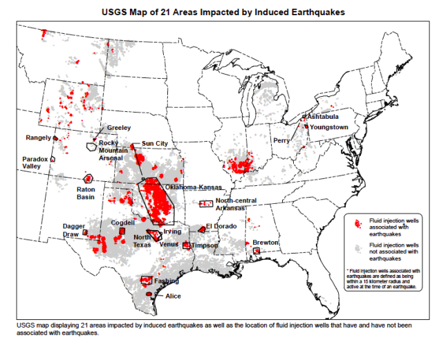 Seismic Activity and Gas Well USGS map