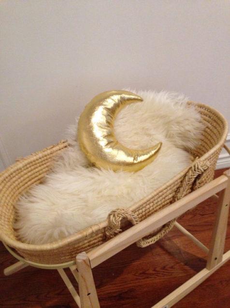 Metallic Golden Moon Pillow / $34