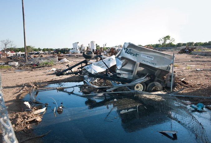What was left after West Fertilizer Co. after the April 2013 explosion. West City Park, just across the railroad tracks from the site, was also destroyed.