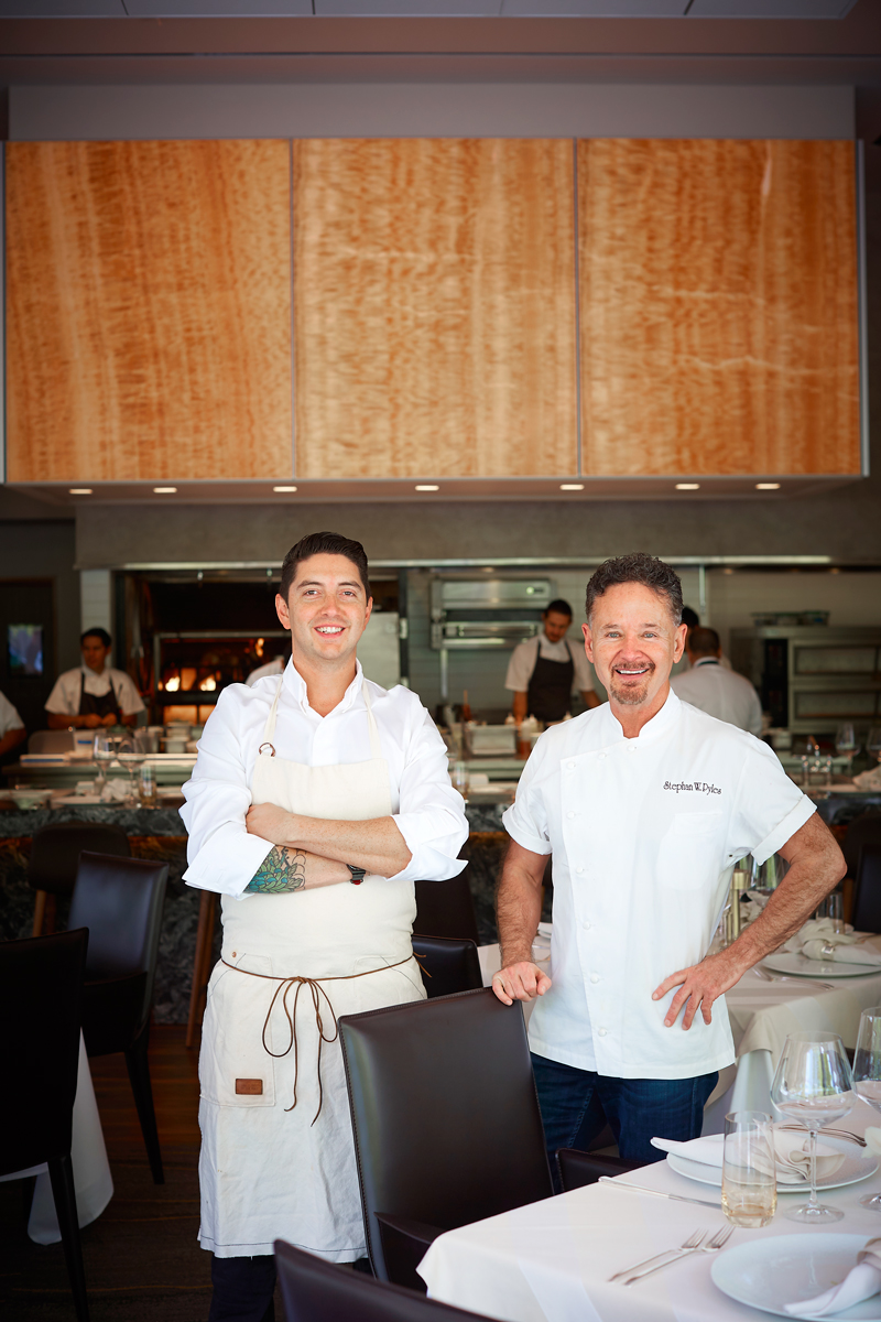 Pyles' team includes chef de cuisine Peter Barlow (left), who worked at Trois Mec in L.A. and Grace in Chicago.