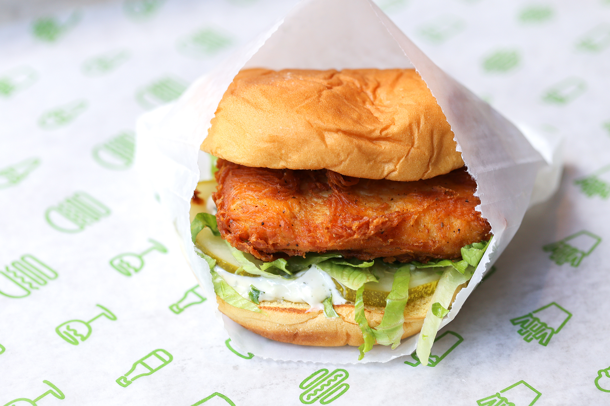 Chick'n Shack: crispy chicken breast with lettuce, pickles, and buttermilk herb mayo.
