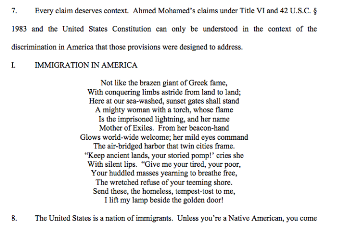An excerpt from the Mohameds' lawsuit.