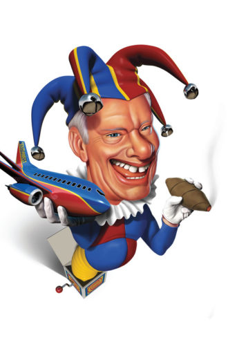 "Herb Kelleher, co-founder of Southwest Airlines, was portrayed as Dallas business' ""go-to funny guy,"" challenging rival CEOs to wrestling matches and lifting ""weights"" of Wild Turkey bottles en route to building a successful corporate culture that redefined the airline business."