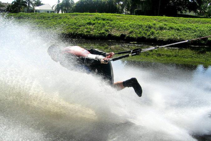 Wilke shows off his backward skiing moves.