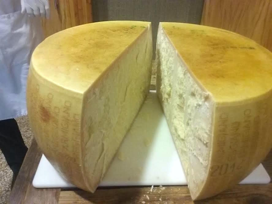 Freshly cracked wheel of Parmesan at Scardello Artisan Cheese. (Photo by Eve Hill-Agnus.)