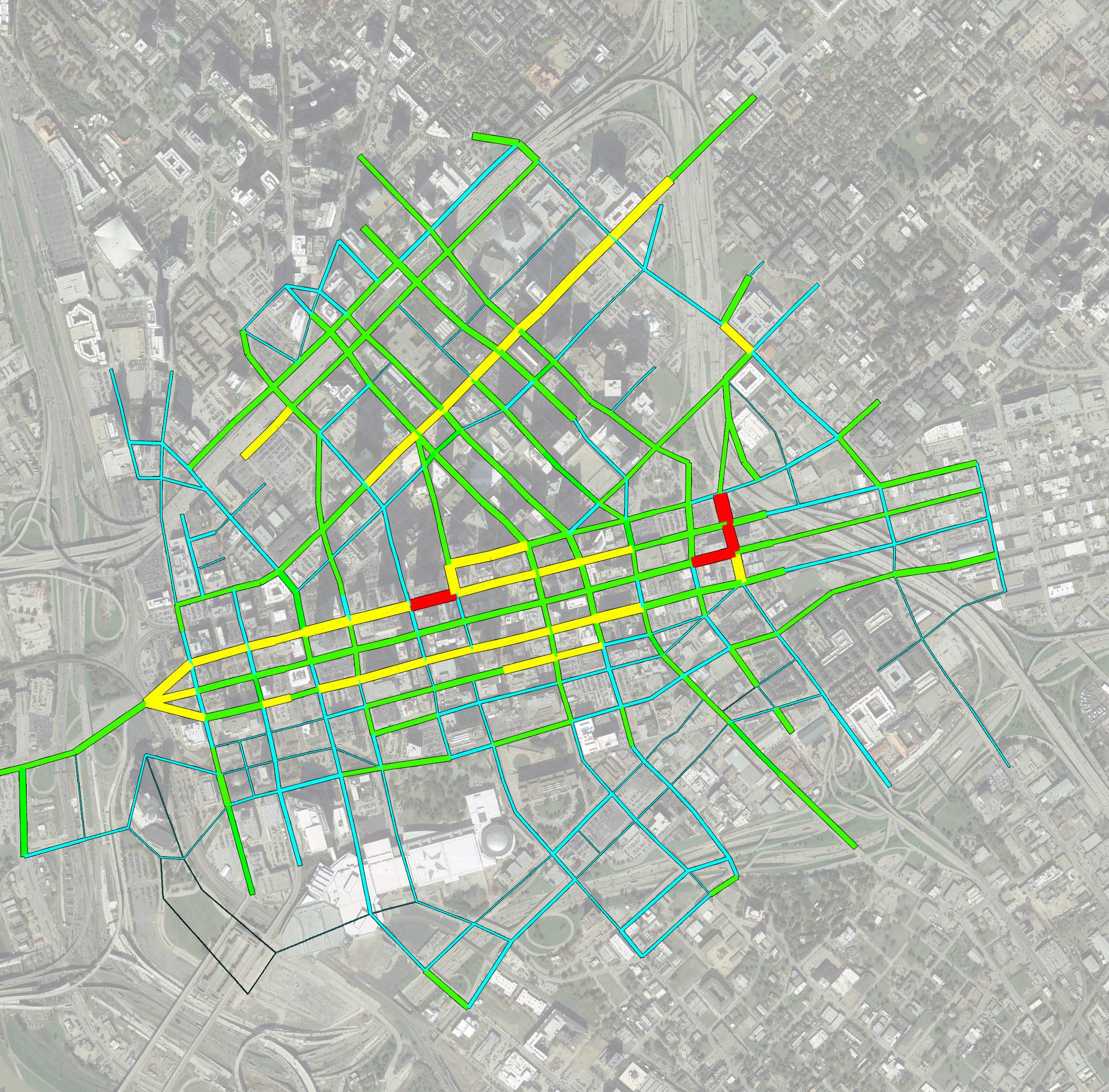Heat Map of Downtown Dallas Traffic to Capacity
