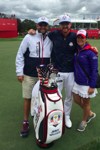 Julie Fox with pro golfer Jimmy Walker (center) and his caddy Andy Sanders.