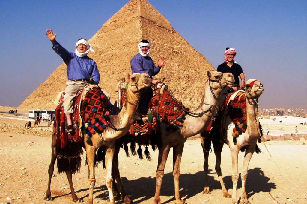 Nathan Sheets, Jeff Sheets, and Casey See of E3 Partners in Egypt.