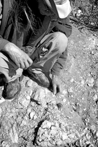 Charles Allen leaves his canoe to examine rocks and shells along the Trinity River, 2012 (Photo: Laray Polk).