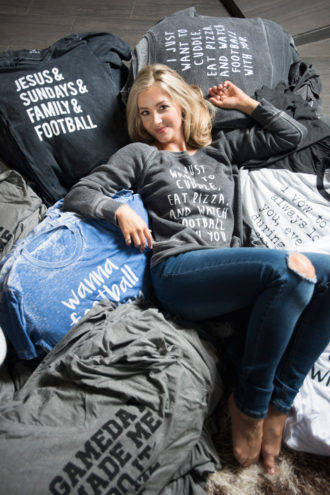 """Side Line: Durso began her Live Love Gameday fashion line during her final season with the Dallas Cowboys Cheerleaders. """"I don't even know if that name makes sense,"""" she says. """"But it works."""""""