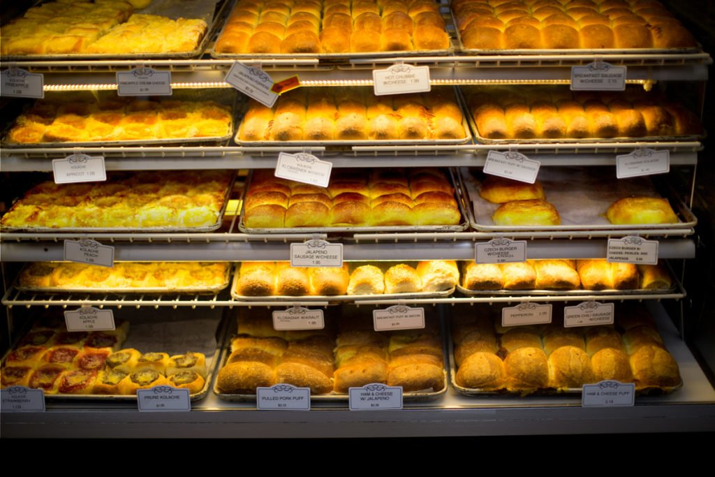 Rack 'em Up: The glass-front bakery case at Czech Stop, with its trays of kolaches and klobasniki, has long been irresistible to road trippers and their Instagram accounts.