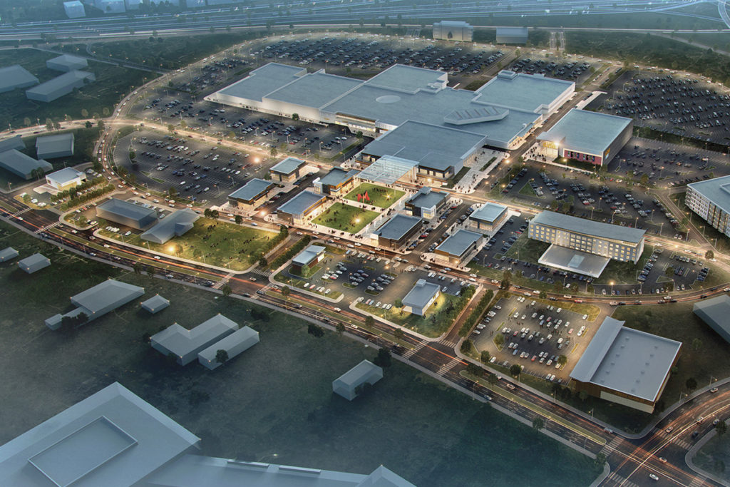 "An ""aerial"" rendering shows the entire Red Bird Mall redevelopment project, which will include space for offices, apartments, and a hotel."