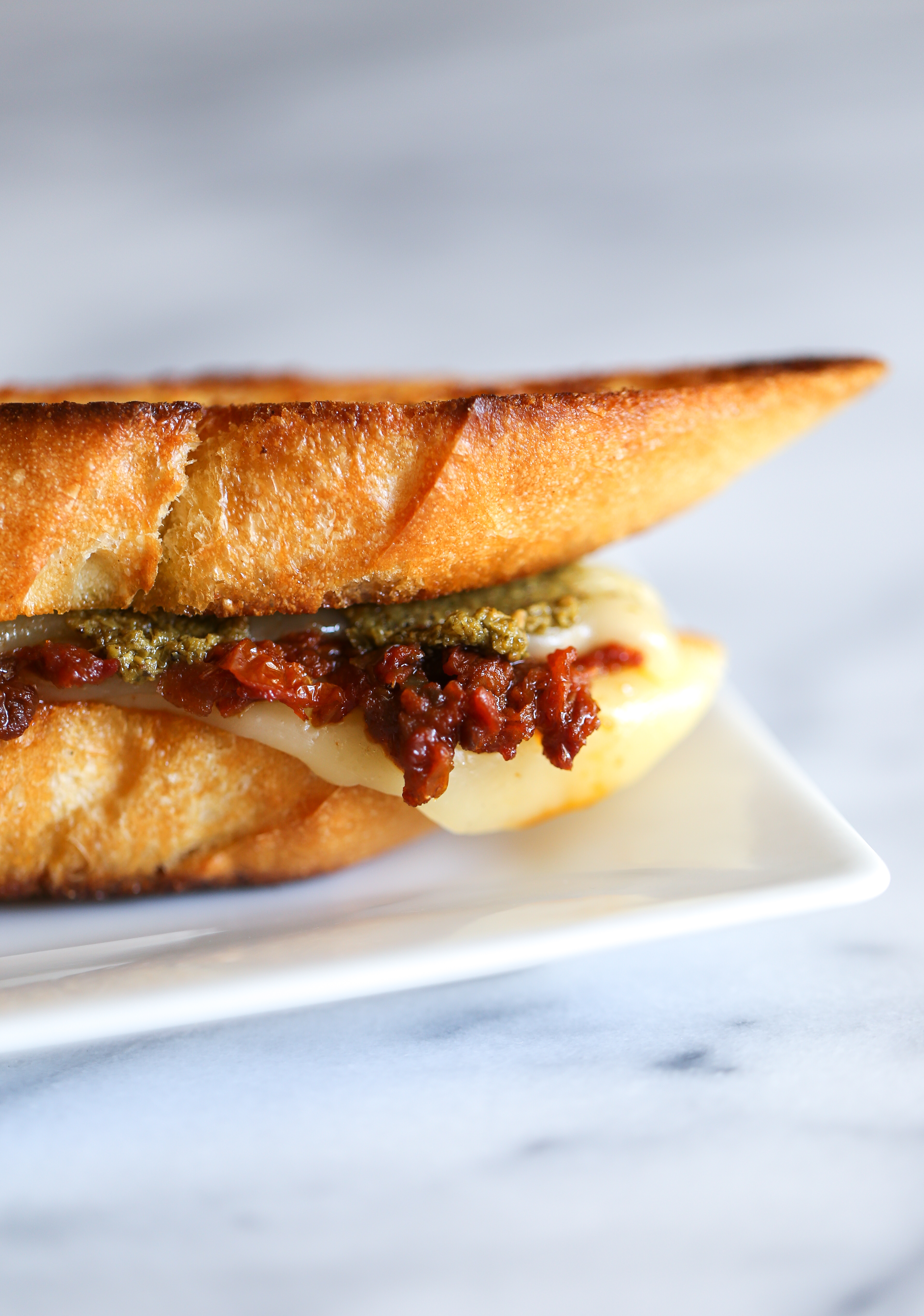 """A recreation of Andrea Meyers """"Italian"""" grilled cheese sandwich."""