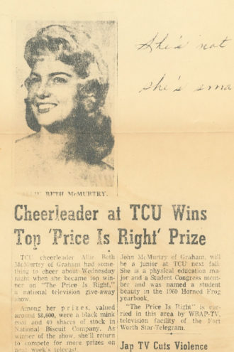 """A newspaper clipping announces Allie Beth McMurtry's win on the TV show """"The Price is Right""""."""
