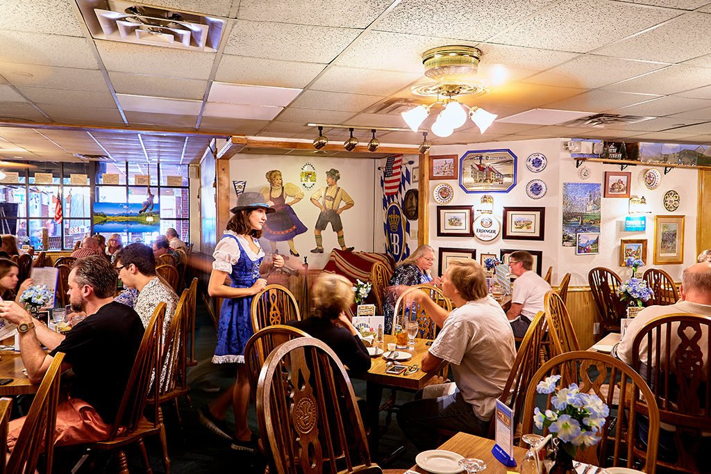 SCHNITZEL AND GIGGLES: You can't go wrong with polka music, lederhosen-clad waiters, spaetzle, sauerbraten, strudel, and more than 70 kinds of German beer.