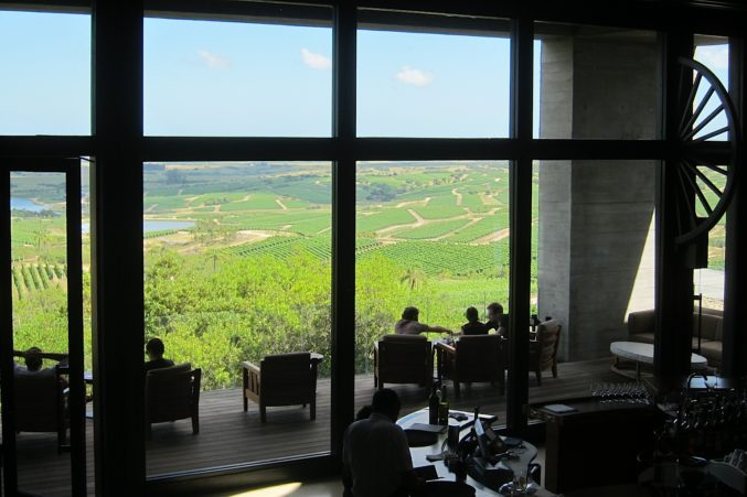 Guests relax on the terrace of Bodega Garzon overlooking vineyards.