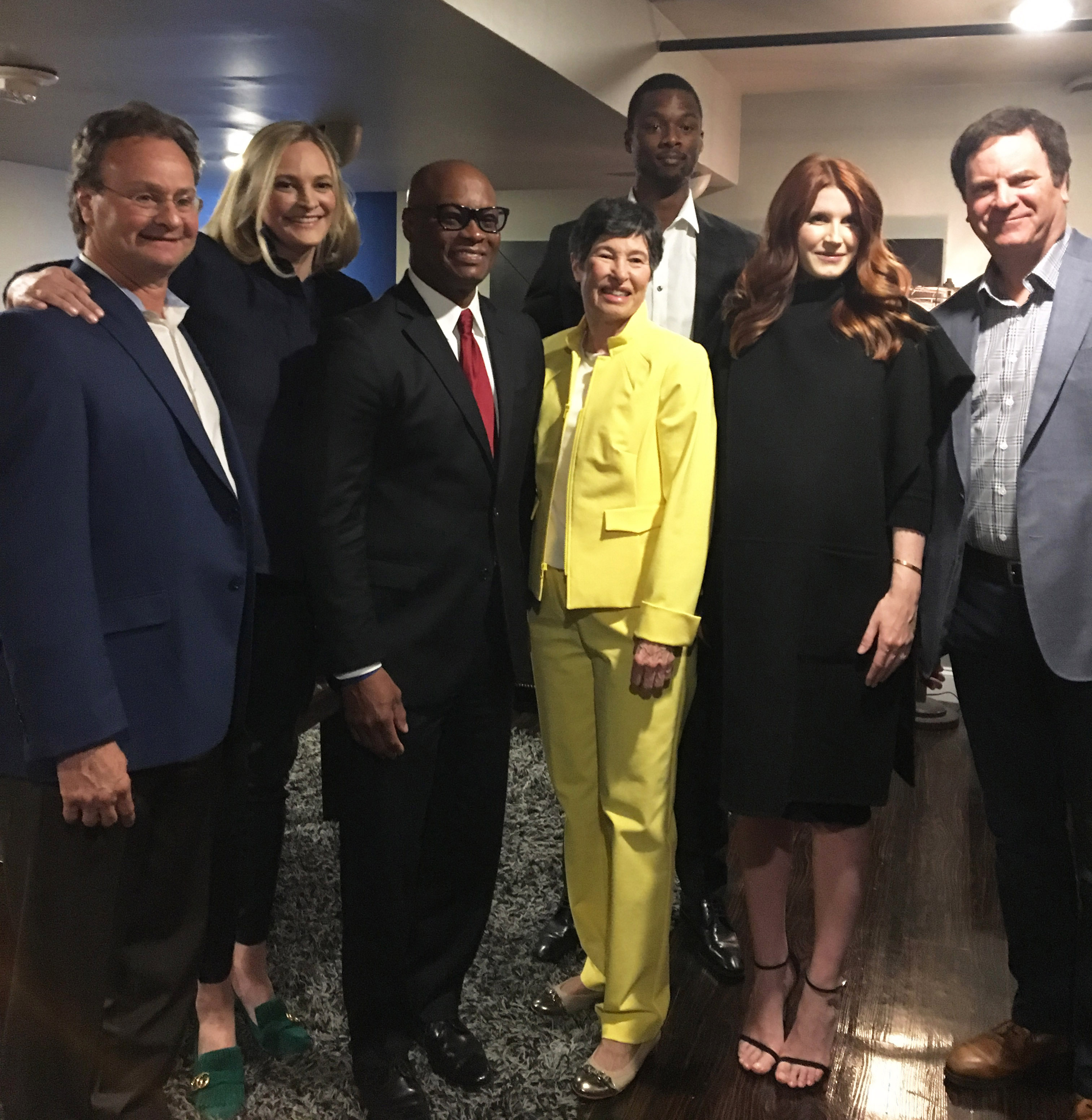 Emcee Ken Barth, United Way CEO Jennifer Sampson, former Dallas Police Chief David Brown, philanthropist Lyda Hill, Dallas Maverick Harrison Barnes, rewardStyle co-founder Amber Venz Box, and Broadcast.com co-founder Todd Wagner came together Thursday evening for OneUp the Pitch.