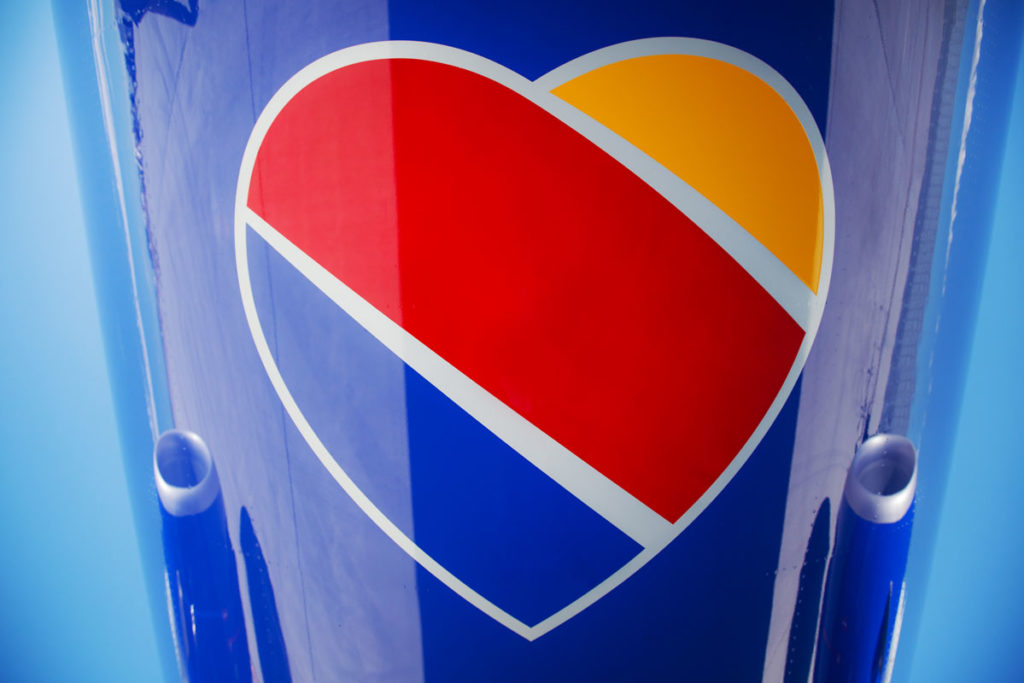 Southwest's tri-color heart logo is painted on all its planes. Photo courtesy of Southwest Airlines.