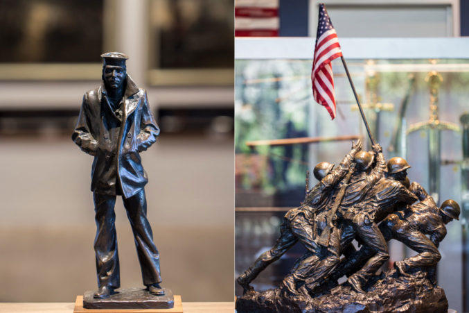 On the right, a smaller version of the Marine Corps. War Memorial at Perot Co. On the left, The Lone Sailor. (Photo: Jessica Chen)