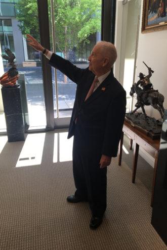 Ross Perot Sr. shows off his new digs. (Photo: Matt Goodman)