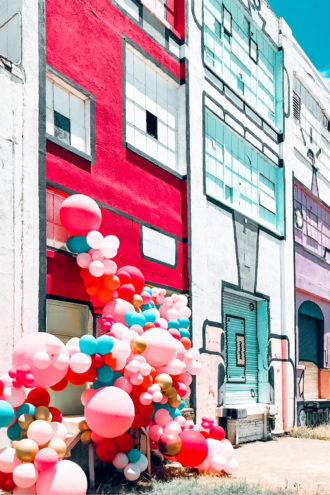 Colorful Buildings with Colorful Balloons